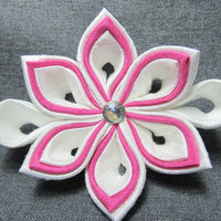 Designer Dog Collar Flower - Wedding White and Pink Silk kanzashi Flower - Wedding dog collar flower