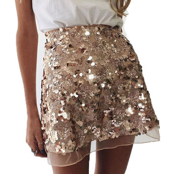 Sequined Gold Mesh Sexy Women Skirts Saia Cute A-Line Skirts High Waist Summer Women's Skirt Elegant Plus Size Women Clothing