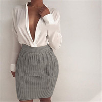 2016 Autumn Winter New Knitted Sexy Women Skirts Elegant Thick Sweater Bandage Mini Skirt High Waist Gray Faldas Saias Strech