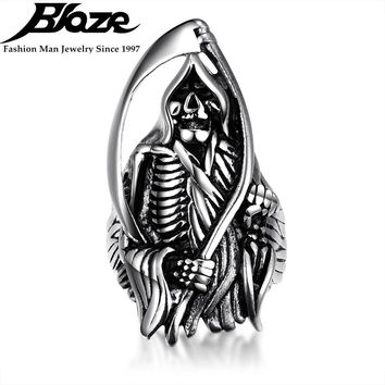 Cool Hell Death Saint Skull Ring Man Never Fade Silver Plated 316L Stainless Steel Punk Biker Man's Ring For Mens Gift