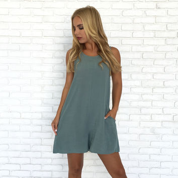 Keeper Romper In Dusty Blue