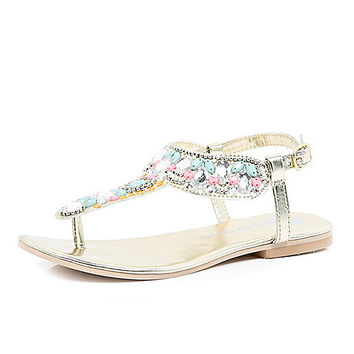 River Island Girls gold embellished T bar sandals