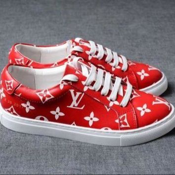 ONETOW Louis Vuitton x Supreme Red Trend Fashion Casual Sneakers