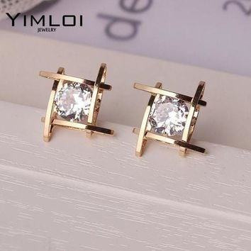 ac DCCKO2Q Elegant and Charming Black Rhinestone Full Crystals Square Stud Earrings for Women Girls Statement Piercing Jewelry E297