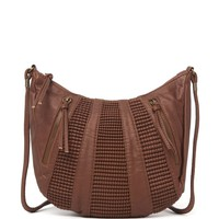 With Love From CA Double Zip Crescent Crossbody Bag - Womens Handbags - Brown - One