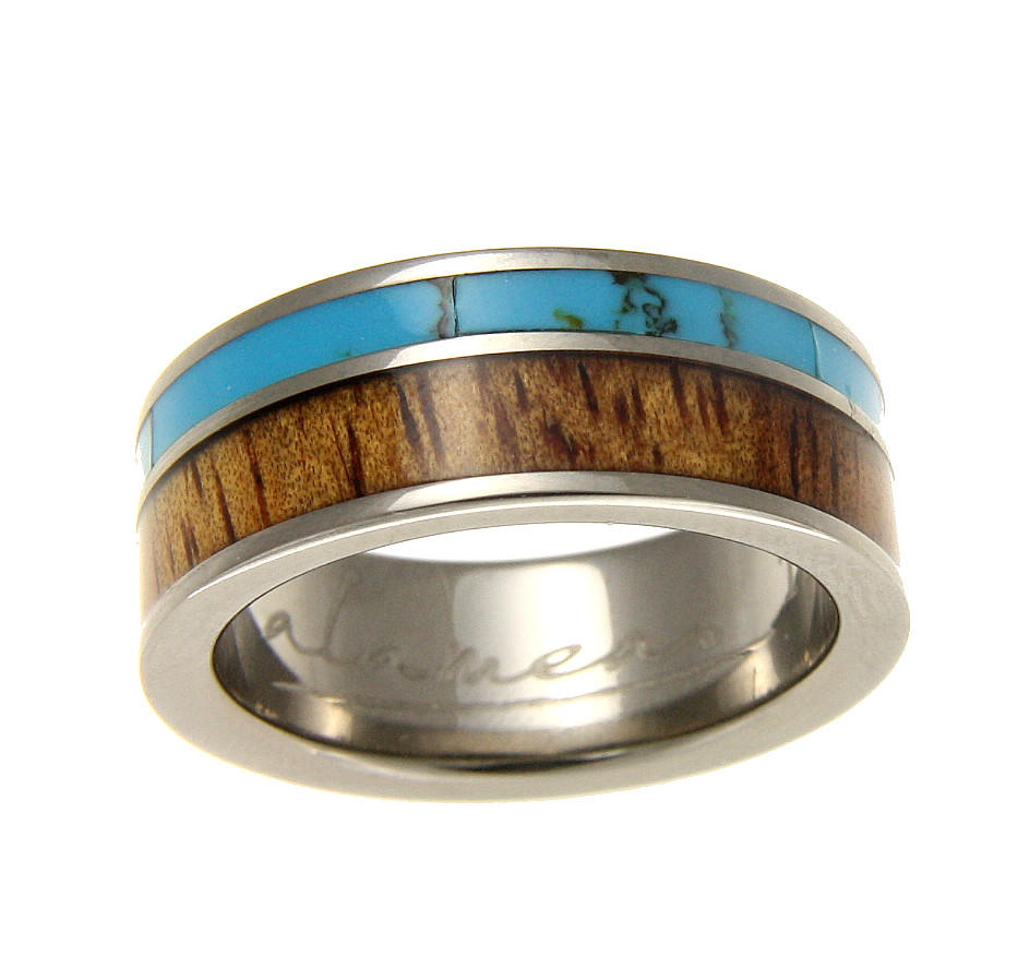 genuine inlay hawaiian koa wood turquoise wedding band ring titanium 8mm sz 8 12 turquoise wedding ring GENUINE INLAY HAWAIIAN KOA WOOD TURQUOISE WEDDING BAND RING TITANIUM 8MM SZ 8 12