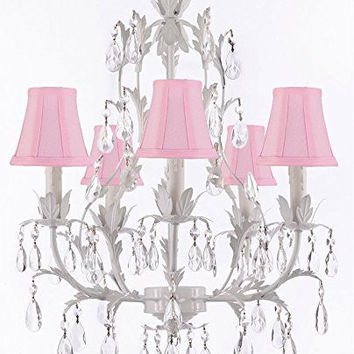 White Wrought Iron Floral Chandelier Lighting Crystal Chandeliers With Shades - G7-Sc/Pinkshade/White/407/5