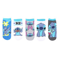 Disney Lilo & Stitch Character No-Show Socks 5 Pair