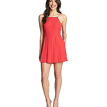 1.STATE Pleated-Front High-Neck Romper | Dillards.com