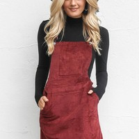 SZ L On The Go Wine Corduroy Overall Dress