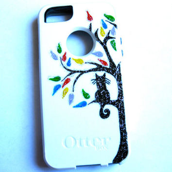 Otterbox iphone 5 case, Iphone 5 case, Glitter case, Iphone cover, custom otterbox iphone 5, gift, cat iphone 5 case