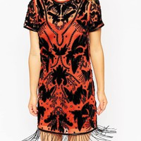 ASOS PETITE Exclusive Embellished T-Shirt Dress with Velvet and Fringing