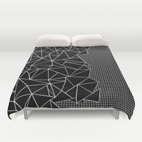 Abstract Grid Outline White on Black on Side Duvet Cover by Project M