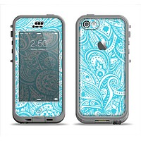 The Light Blue Paisley Floral Pattern V3 Apple iPhone 5c LifeProof Nuud Case Skin Set