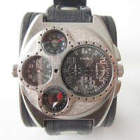 Mens Steampunk Dual time Watch, Genuine Leather Cuff Handmade Black