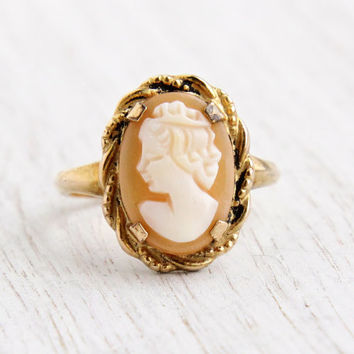 Vintage Cameo Ring - Art Deco Signed C&C Clark and Coombs Carved Shell Size 8 Jewelry / Lovely Lady