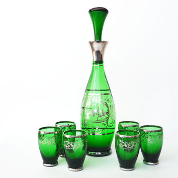 1960s Venetian Glass Decanter Set Emerald Green with Hand Painted Silver