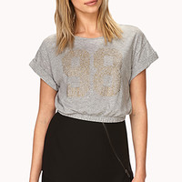 FOREVER 21 Fresh 98 Crop Top Heather Grey/Gold