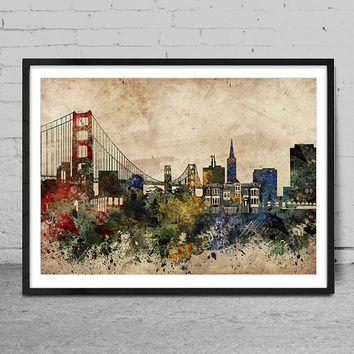 San Francisco art, san francisco skyline, golden gate bridge,  san francisco wall art, abstract art, san francisco Poster, Home Decor -x68