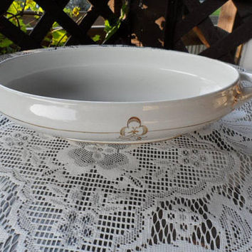 ANTIQUE 1900s Bridgewood Anchor Double Handled Oval Gold Trimmed Vegetable Serving Dish/Oval Serving Dish/Fine Antique Oval Dish