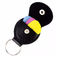 Key Chain Leather & Metal Guitar Pick Holder.