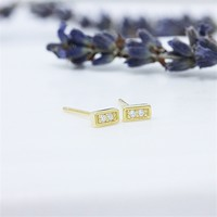 14K Gold Plated CZ Diamond Simulated Dainty Bar Sterling Silver Stud Earrings