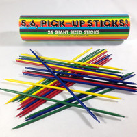 Vintage Giant Pick Up Sticks with Rounded Tips 24 Total Colorful Rainbow 80s Retro Kids Games 5, 6 Pick - Up Sticks by Ralpharoo Made in USA