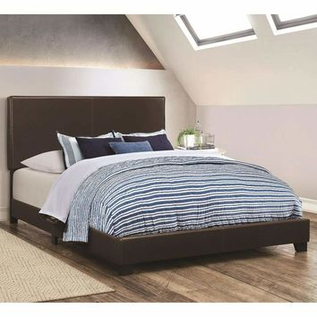 Leather Upholstered Twin Size Platform Bed, Brown
