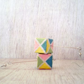 Geometric Pastels Earrings Cube Dangles Recycled Paper Hand Painted Jewelry Eco Friendly Ready to Ship / Σκουλαρίκια Κύβοι