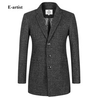 E-artist Men's Slim Fit Casual Long Wool Trench Coats Jackets Male Winter Thick Peacoat Outwear Overcoats Plus Size 5XL N26