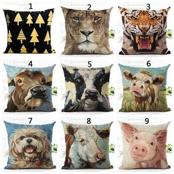 Dog/Cow/Pig/Tiger Animal Oil Painting Decorative Throw Pillows Case Linen Cotton Cushion Cover