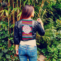 Bohemian Summer Jacket 80s Vintage Faux Leather Bolero Mexican Boho Hippie Upcycled Recycled Clothing Eco Friendly OOAK by TheBohemianDream