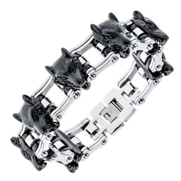 """Mens stainless steel wolf bracelet biker heavy jewelry gold silver color birthday gifts for dad him boyfriend D035 8.5"""""""