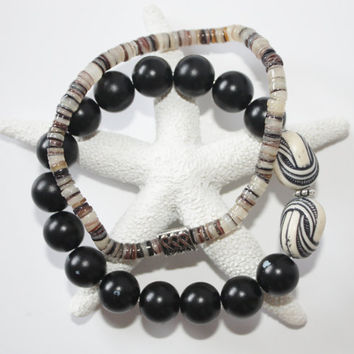 Men's Bracelet Set, Black Round Beads, Shell Disk Beads, Stretch bracelets, Gift for Man, Summer, Ready to Ship, Hippie, Tribal