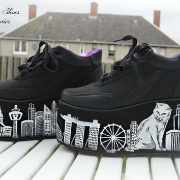 Hand painted skyscraper catzilla at singapore platform flatform shoes trainers  made to order,  pastel goth,kawaii