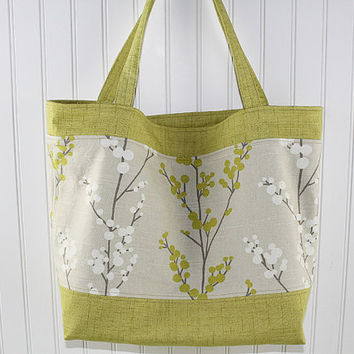 Zen Floral Print Large Tote Bag, Farmers Market Bag, Fold Up Grocery Bag, Denim Tote Bag, MK133