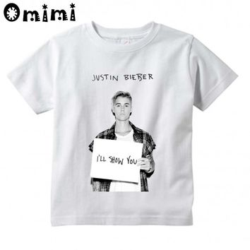 Kids Hipster Hip Hop Justin Bieber Design T-Shirts Children's Casual Short Sleeve Short Tops Boys/Girls Cute T Shirt