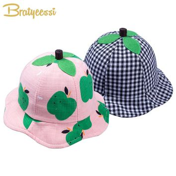 Cute Baby Summer Hat for Boy Girl Cartoon Cotton Baby Sunhat Adjustable Kids Bucket Cap for 6-15 Months