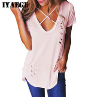 IYAEGE Camiseta Mujer 2017 Summer Holes T Shirt Women Sexy V Neck Criss Cross Ripped T-Shirt Casual Bandage Basic Tee Tops Blusa