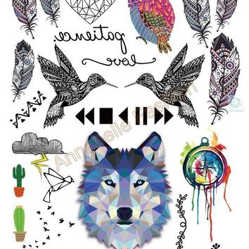 Tattoo Sticker Temporary Colorful Wolf Owl Birds Glitter