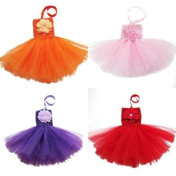 Summer Solid Color Baby Infant Tutu Princess Dress with a Front Peony Flower Toddler's Summer Dress for 0-2years