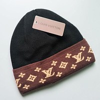 LV Louis Vuitton Winter Trending Women Men Stylish Warm Knit Hat Cap Black