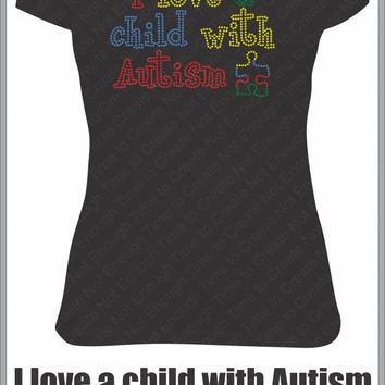 I love a child with Autism Women's Rhinestone T-Shirt