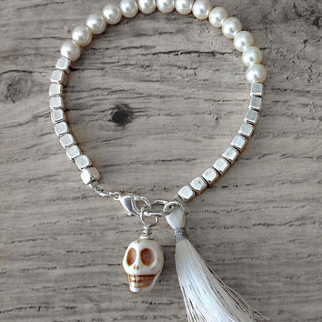 White pearl bracelet, sugar skull bracelet, tassel bracelet, white skull bracelet, day of the dead wedding, skull wedding, bridal jewelry