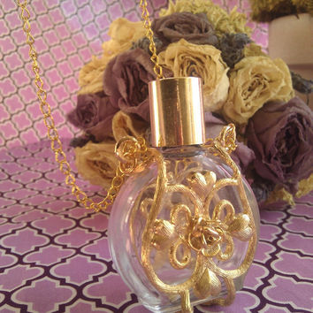 Perfume Bottle Necklace - Floral Vintage Glass Holds 15ml Your Choice of Perfume Included