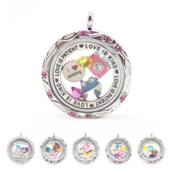 Water proof! 316l stainless steel floating charm locket living locket 30mm glass locket pendant with floral face and crystals
