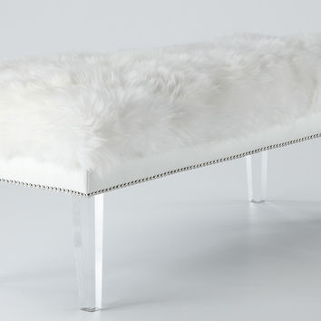 Luxe White Sheepskin Fur Lucite Bench