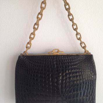 Vintage Black Croc Evening Bag With Gold Rope Chain Handle