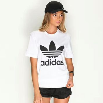 ADIDAS classic trend men and women with the same fashion short-sleeved F-KWKWM white