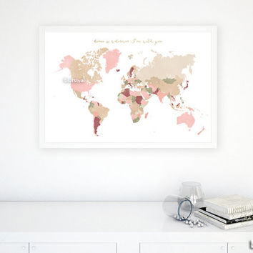 "30x20"" PRINTABLE world map with countries & names, dusty shades, dusty pink, cream, dusty green. Diy travel pinboard world map - map 138 R01"
